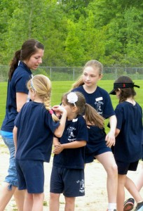 Submitted St. Mary School music teacher Kristina Romano enjoys field day with team 3 members Emma Clayton, Frances Alic, Lauren Flick and Lindsey Schaefer.