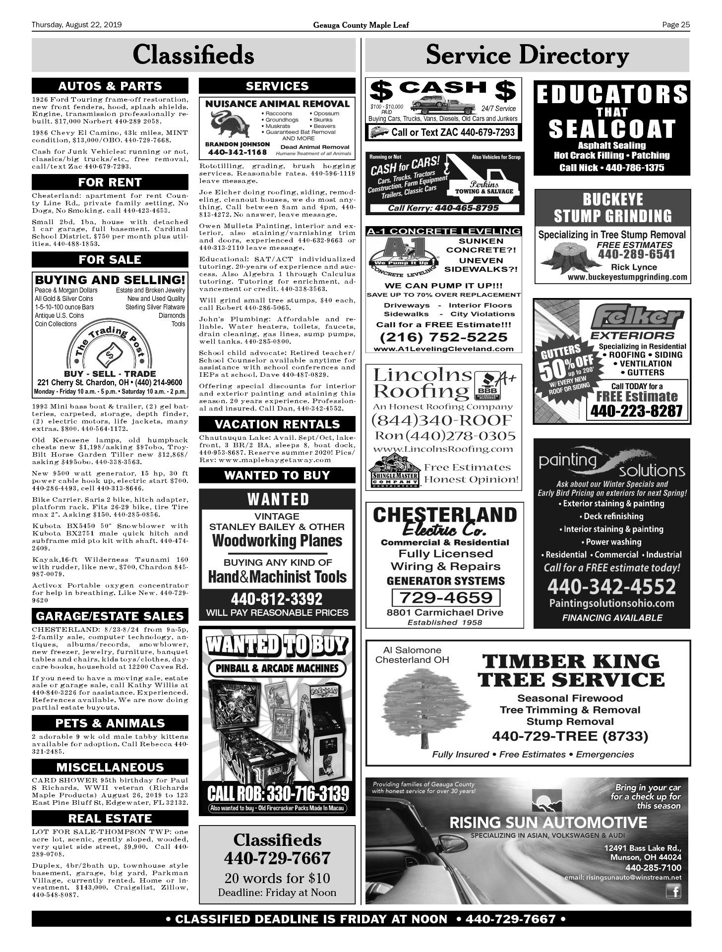 8-22-2019 CLASSIFIEDS | Geauga County Maple Leaf